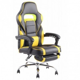 Oficina de cuero sintético combustible silla - negro / amarillo