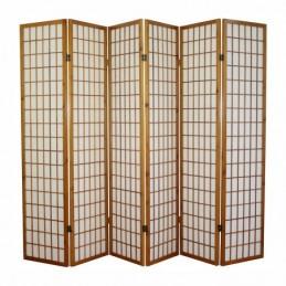 Paravent, Biombo de Madera 6 paneles  Shoji marrón