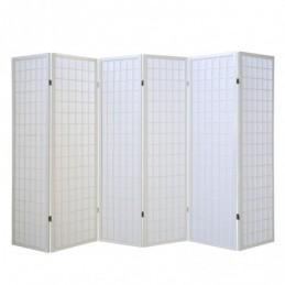 Paravent, Biombo de Madera 6 paneles  blanco Shoji