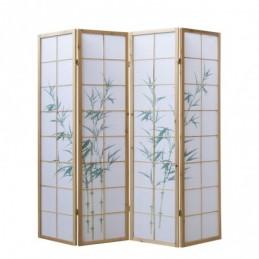 Paravent, Biombo de Madera 4 paneles  de bambú claro