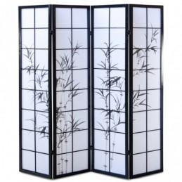 Paravent, Biombo de Madera 4 paneles  bambú negro
