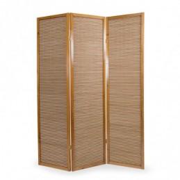Paravent, Biombo de Madera 3 paneles  de bambú marrón