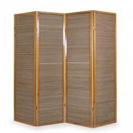 Paravent, Biombo de Madera 4 paneles  de bambú marrón