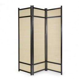 Paravent, Biombo de Madera 3 paneles  bambú negro