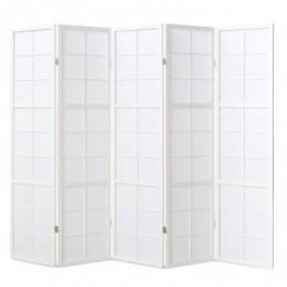 Paravent, Biombo de Madera 5 paneles  blanco