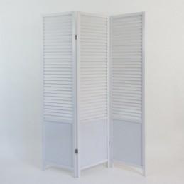Paravent, Biombo, separador de ambientes madera  3 paneles blanco