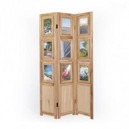 Paravent, Biombo 3 paneles de madera clara con fotos
