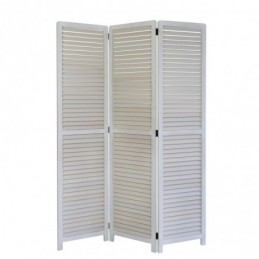 Paravent, Biombo 3 paneles de madera blanca