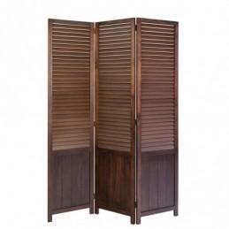 Paravent, Biombo 3 paneles de madera marrón