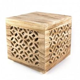 Mesilla de noche de madera cubo deco