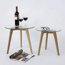 Mesa de centro redonda de vidrio de 2 piezas